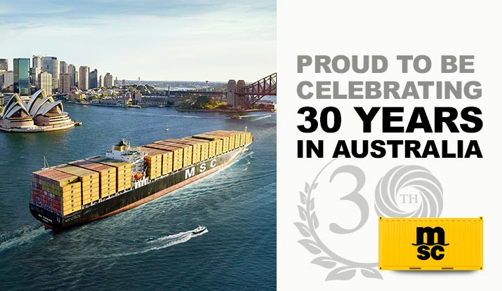 MSC AUSTRALIA MARKS 30 SUCCESSFUL YEARS IN CONTAINER SHIPPING BUSINESS